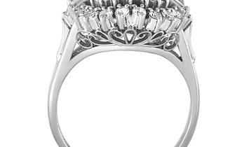 Non Branded Platinum Round and Tapered Baguette Diamonds Oval Mounting Ring