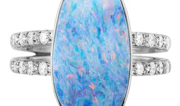 LB Exclusive LB Exclusive Platinum Diamond and Opal Ring