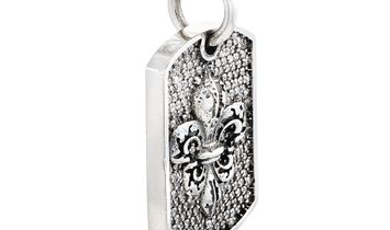 King Baby King Baby Silver and Diamond Small Fleur-de-Lis Relic Dog Tag Pendant Limited Edition Neck