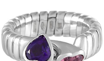 Bvlgari Bvlgari 18K White Gold Amethyst and Tourmaline Bypass Ring