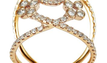 LB Exclusive LB Exclusive 18K Rose Gold Diamond Pave Flowers Openwork Ring