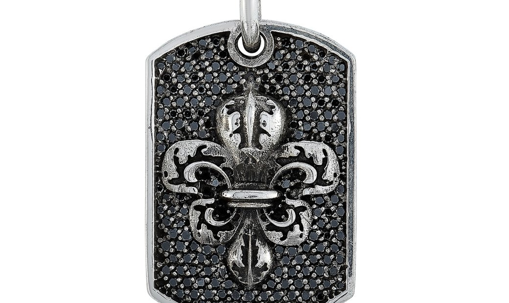 King Baby King Baby Silver and Black Diamond Small Fleur-de-Lis Relic Dog Tag Pendant Necklace