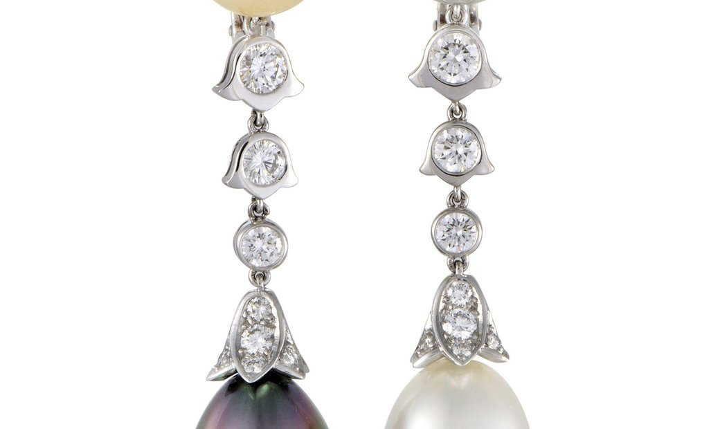 Cartier Cartier Platinum Diamond and Tahitian and South Sea Pearl Clip-on Earrings