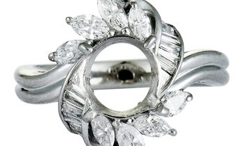 Non Branded Platinum Marquise and Tapered Baguette Diamonds Mounting Ring