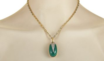 LB Exclusive LB Exclusive 18K Yellow and White Gold Diamond and Malachite Necklace