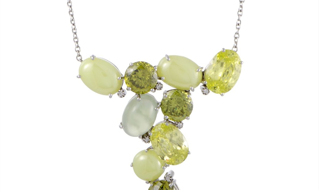 LB Exclusive LB Exclusive Italian Collection 18K White Gold Diamond and Lemon Citrine Pendant Neckla