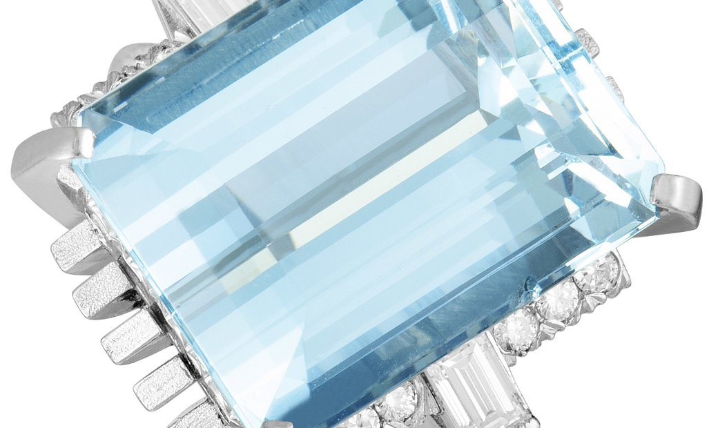 Non Branded Platinum Diamond and Large Rectangle Aquamarine Ring