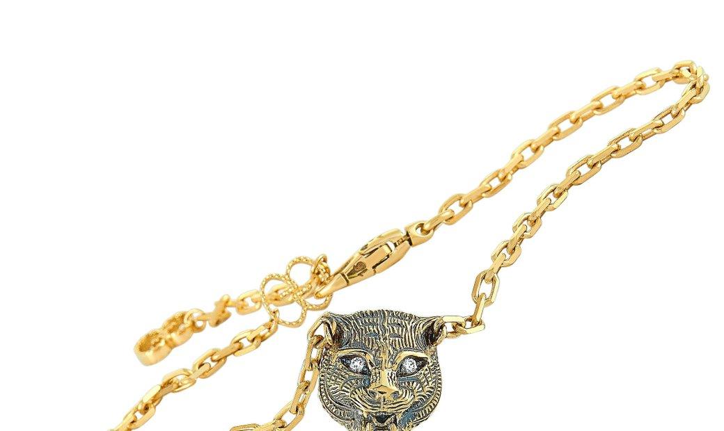 Gucci Gucci LMDM 18K Yellow Gold Diamond and Jade Feline Motif Charm Bracelet Size 16