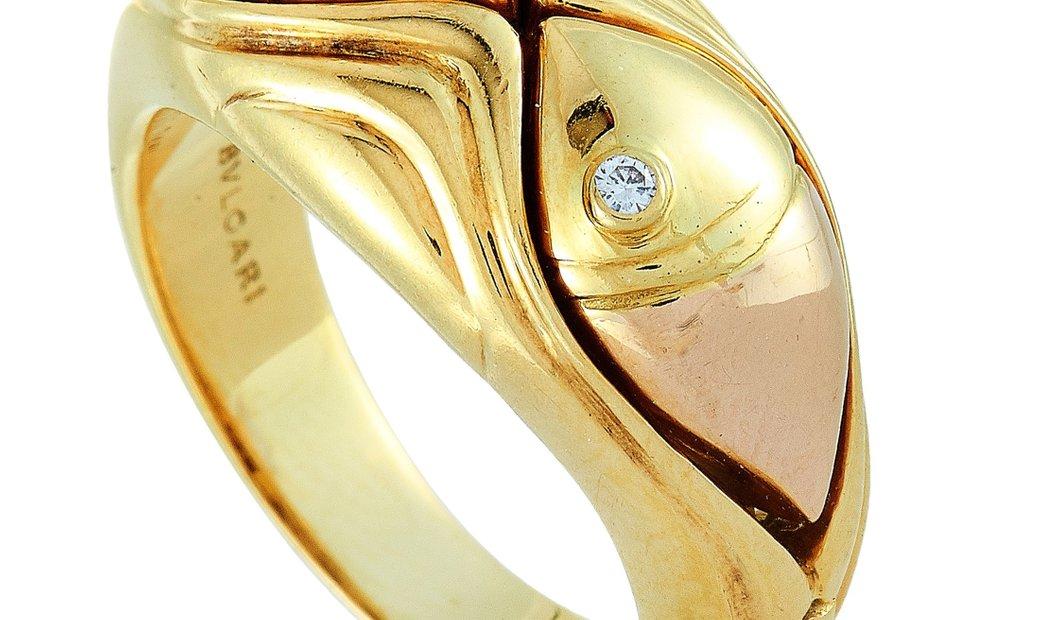 Bvlgari Bvlgari 18K Yellow Gold and Diamond Fish Band Ring