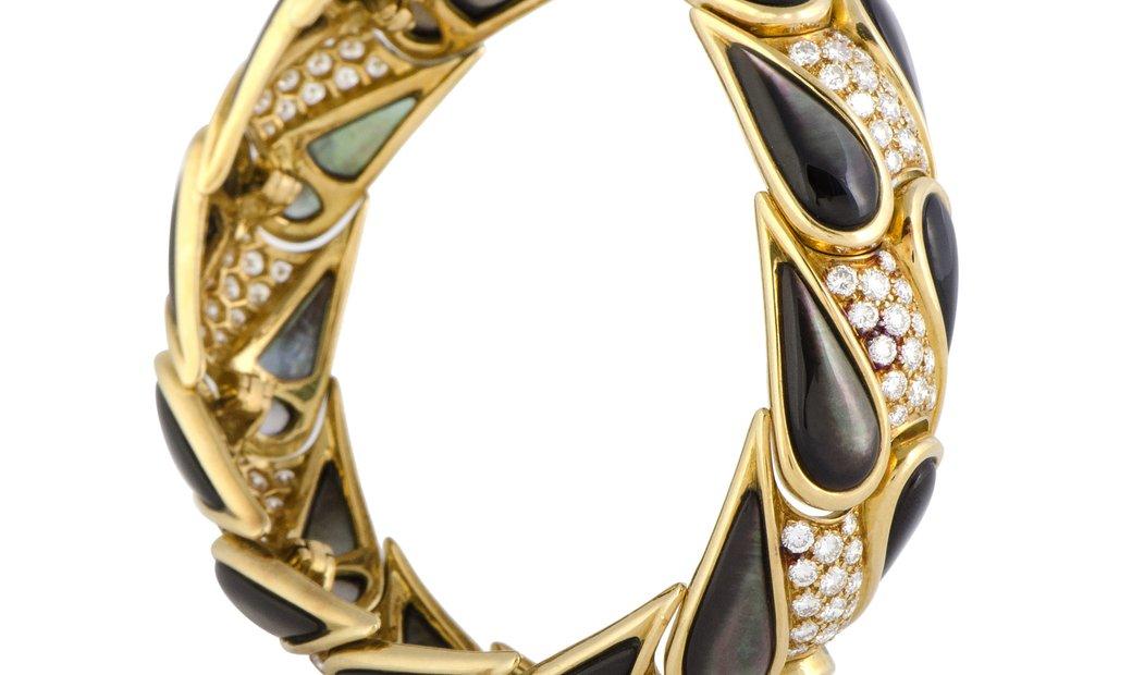 Mauboussin Mauboussin 18K Yellow Gold Diamond and Black Mother of Pearl Bangle Bracelet