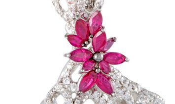 Stefan Hafner Stefan Hafner 18K White Gold Full Diamond and Ruby Flowers Large Pendant Necklace