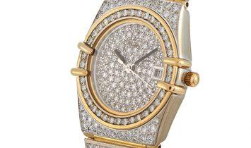 Omega Omega Constellation 18K White and Yellow Gold Diamond Quartz Watch 9122489