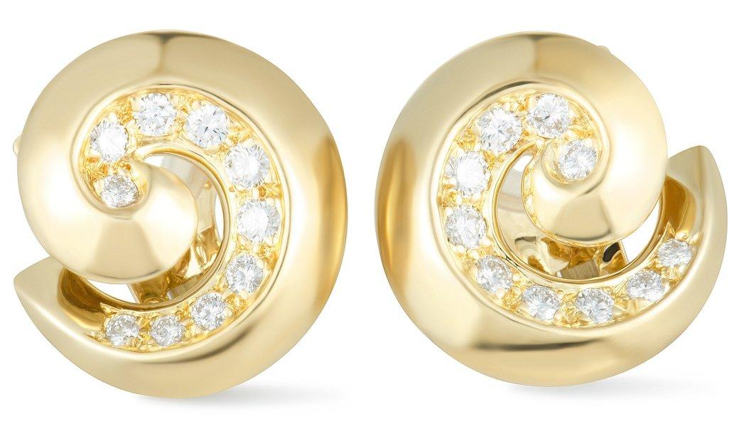 Van Cleef & Arpels Van Cleef & Arpels 18K Yellow Gold Diamond Breeze Swirl Omega Earrings