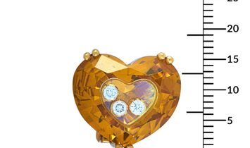 Chopard Chopard So Happy 18K Yellow Gold 6 Floating Diamonds Heart Omega Back Earrings