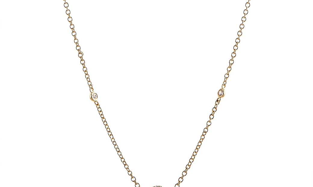 LB Exclusive LB Exclusive 18K Yellow Gold and Diamond 5 Circle Pendant Long Necklace