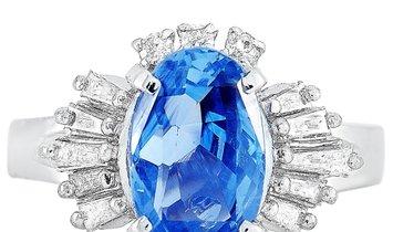 LB Exclusive LB Exclusive Platinum 0.47 ct Diamond and Sapphire Ring