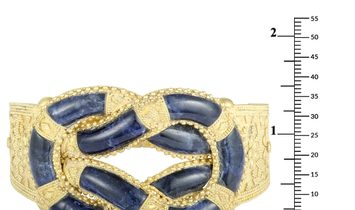 Ilias Lalaounis Ilias Lalaounis 18K Yellow Gold Lapis Ornate Wide Bangle Bracelet