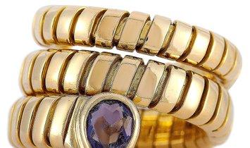 Bvlgari Bvlgari 18K Yellow Gold Iolite Tubogas Ring