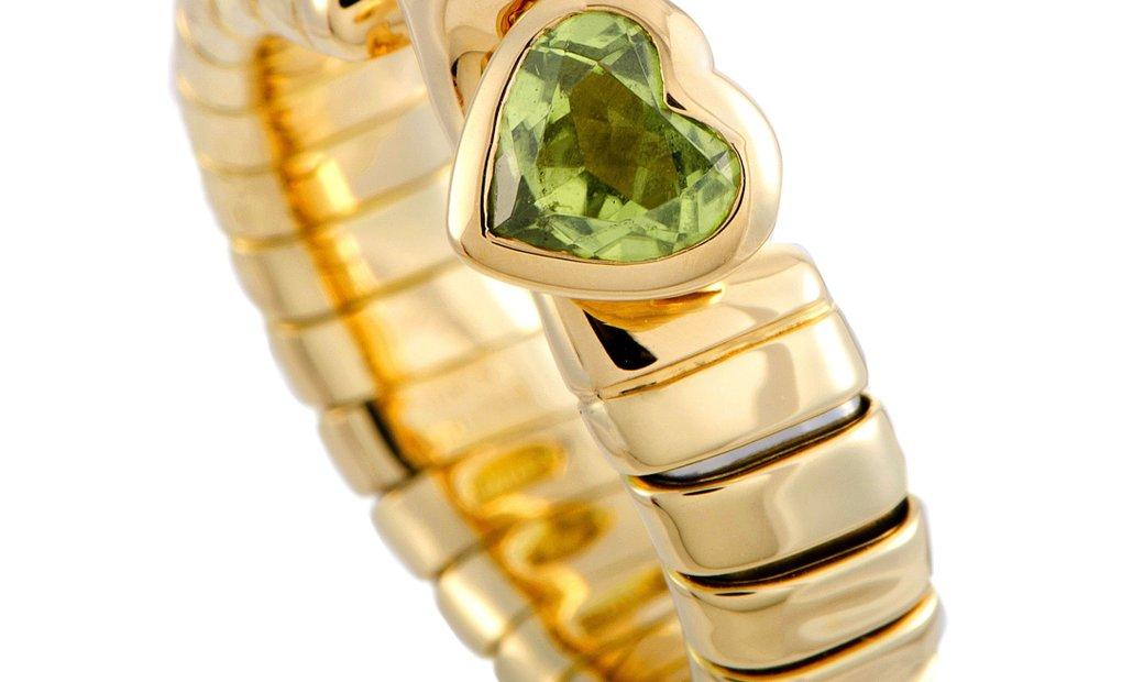 Bvlgari Bvlgari Spiga 18K Yellow Gold Peridot and Tourmaline Hearts Ring