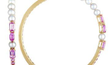 Roberta Porrati Roberta Porrati 18K Rose Gold Diamond, Pink Sapphire and Pearls Large Hoop Earrings