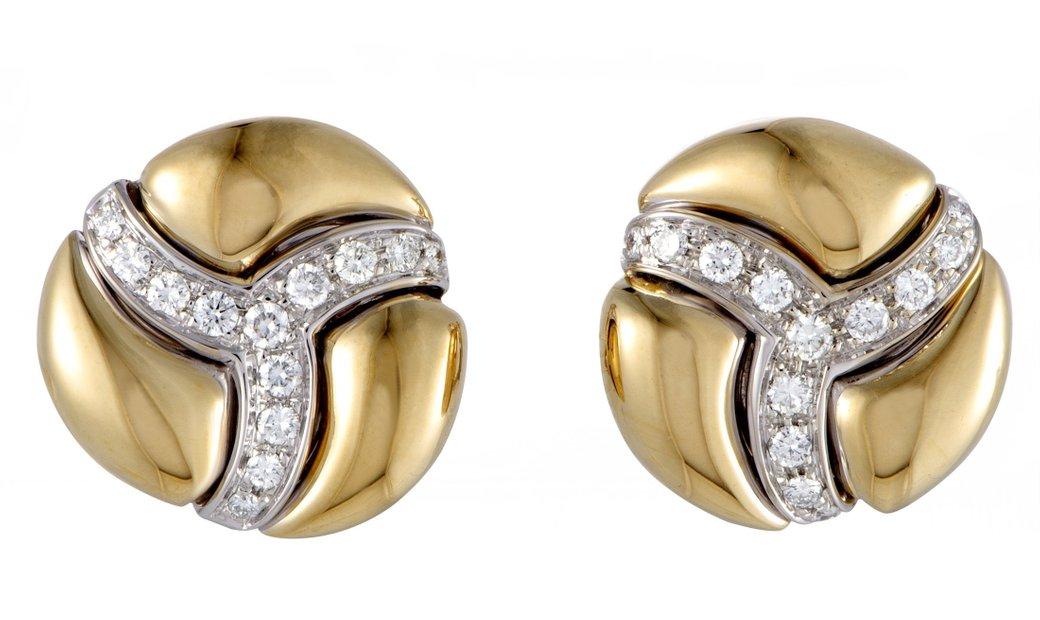 Damiani Damiani 18K Yellow and White Gold Diamond Pave Round Huggie Earrings
