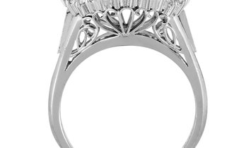 Non Branded Platinum and Round and Tapered Baguette Diamond Mounting Ring