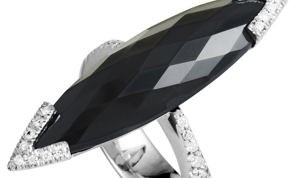 Roberto Coin Roberto Coin 18K White Gold Diamond and Onyx Cocktail Ring