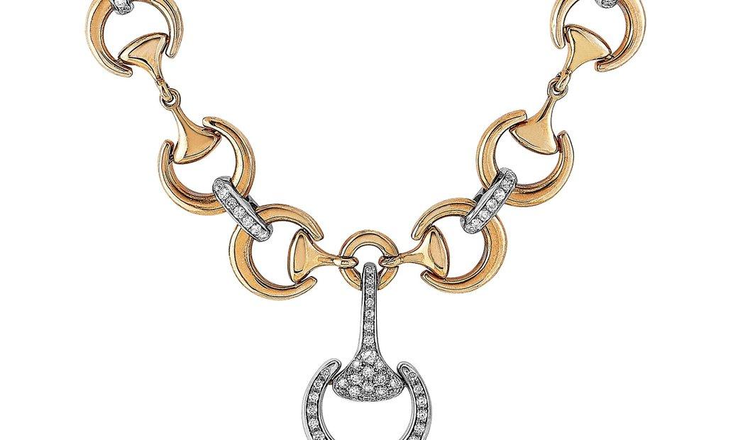 Ubaldi Ubaldi 18K Rose/White Gold 0.60 ct Diamond Horsebit Two-Tone Short Necklace