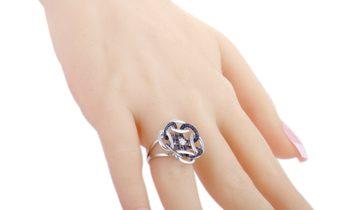 Gianni Lazzaro Gianni Lazzaro 18K White Gold Diamond, Sapphire Pave Openwork Cushion Ring