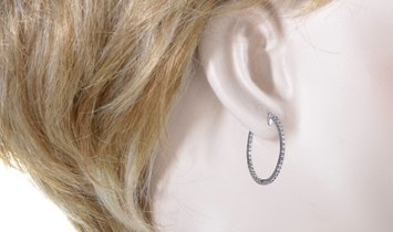 LB Exclusive LB Exclusive 14K White Gold 1.00 Carat VS1 G Color Diamond Pave Inside Out Hoop Earring