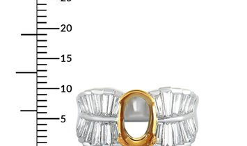 Non Branded Platinum and 18K Yellow Gold Tapered Baguette Diamond Oval Mounting Ring