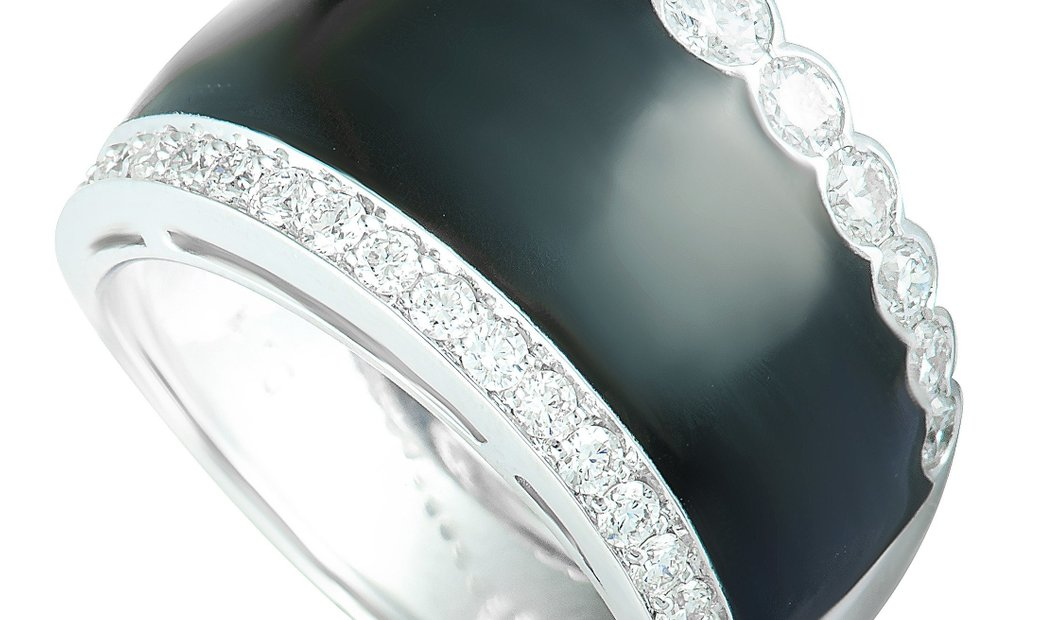 Picchiotti Picchiotti 18K White Gold Diamond Pave and Onyx Wide Band Ring