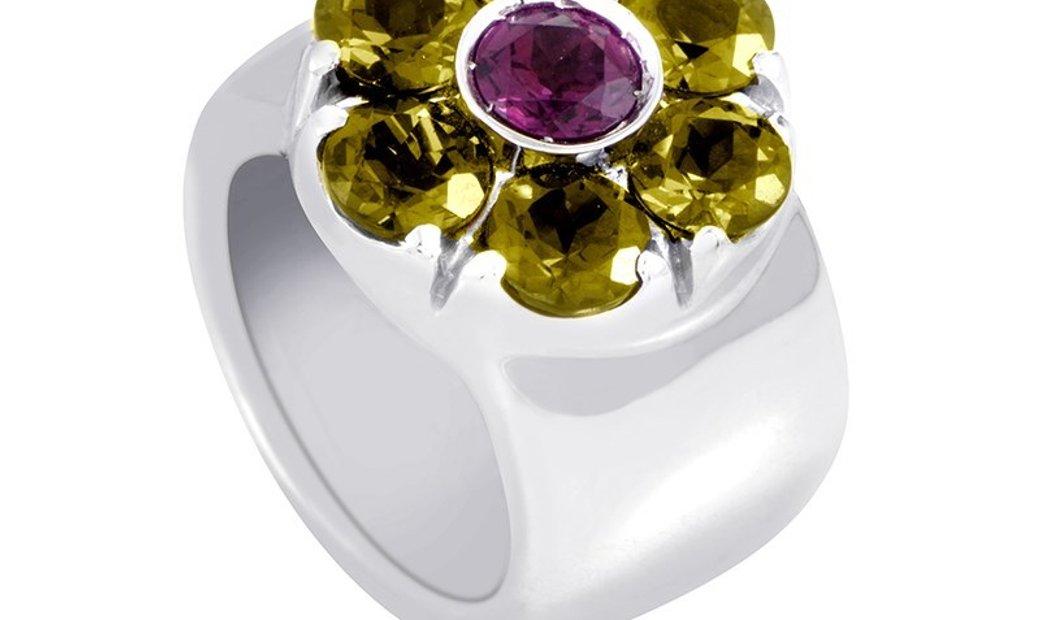 Non Branded 18K White Gold Tourmaline & Peridot Flower Band Ring