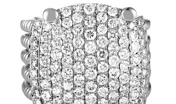 LB Exclusive LB Exclusive 18K White Gold Round Diamonds Wide Band Ring
