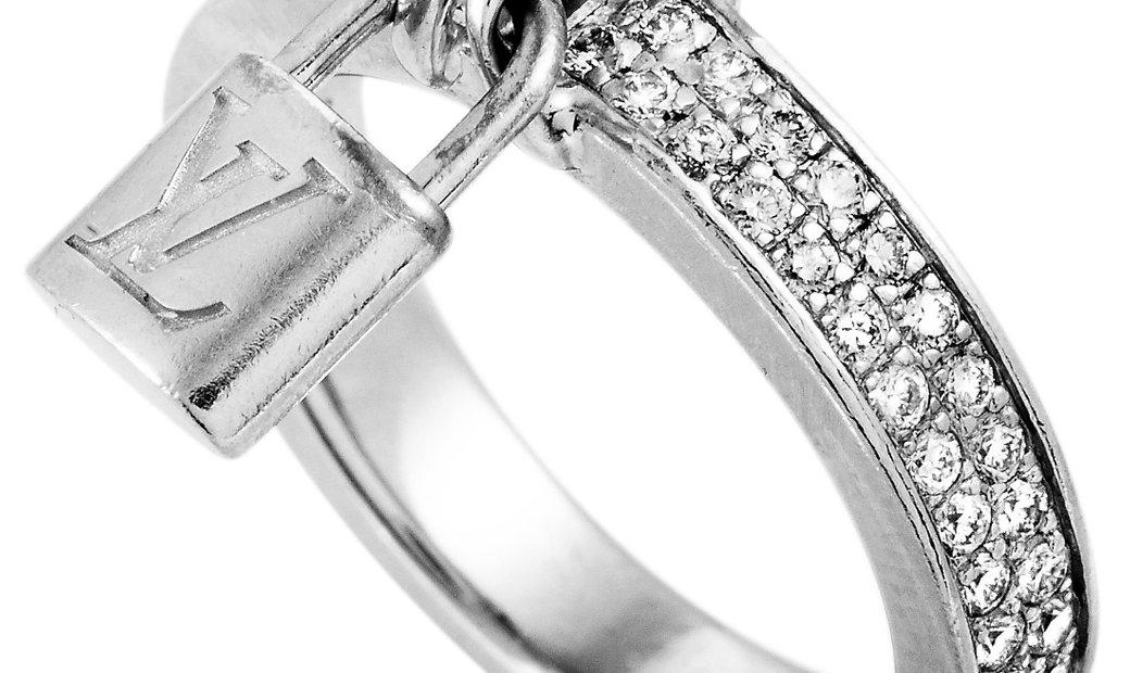 Louis Vuitton Louis Vuitton Lockit 18K White Gold Diamond Pave Dangling Lock Ring