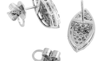LB Exclusive LB Exclusive 18K White Gold Diamond Pave Stud Earrings