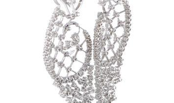 Stefan Hafner Stefan Hafner 18K White Gold Full Diamond Large Omega Earrings