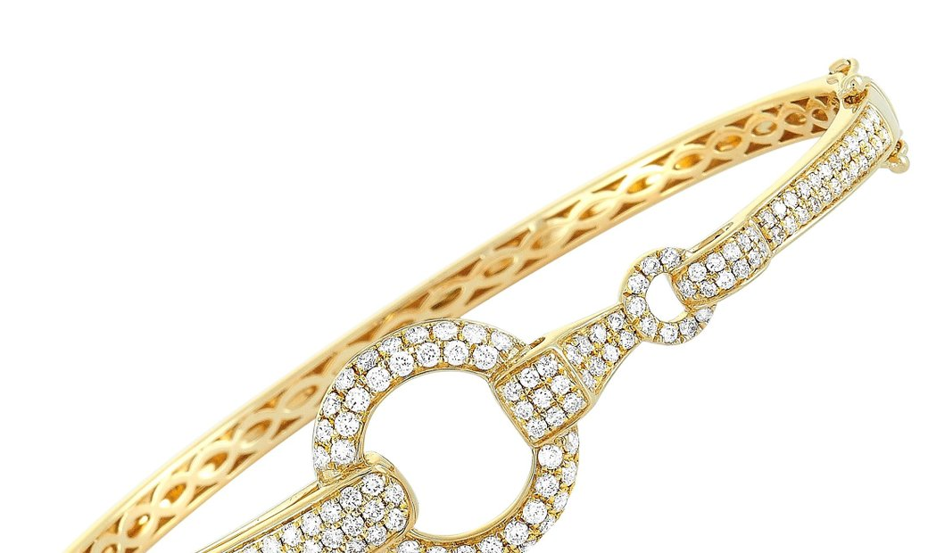 LB Exclusive LB Exclusive 18K Yellow Gold ~1.70ct Diamond Bangle Bracelet