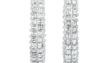 LB Exclusive LB Exclusive 18K White Gold Inside Out Diamond Pave Hoop Earrings