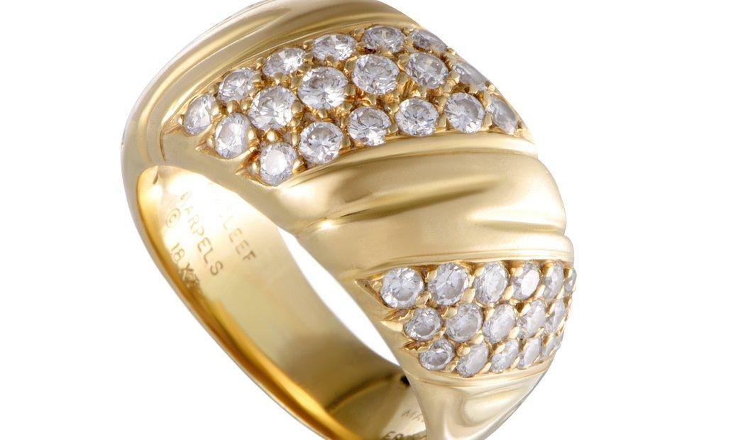 Van Cleef & Arpels Van Cleef & Arpels 18K Yellow Gold Three-row Diagonal Diamond Pave Band Ring