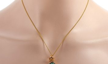King Baby King Baby 18K Yellow Gold Diamond, Ruby and Turquoise Skull and Crossbones Pendant Necklac