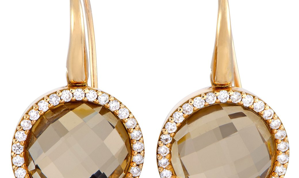 Roberto Coin Roberto Coin Cocktail 18K Rose Gold Diamond and Rutilated Quartz French Wire Earrings