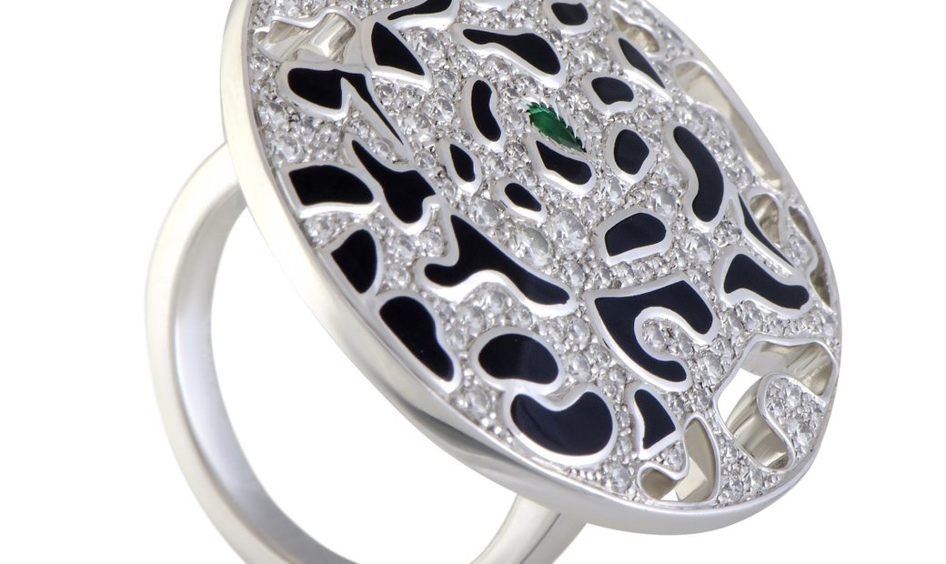 Cartier Cartier Panthere Enameled 18K White Gold Diamond and Emerald Round Cocktail Ring