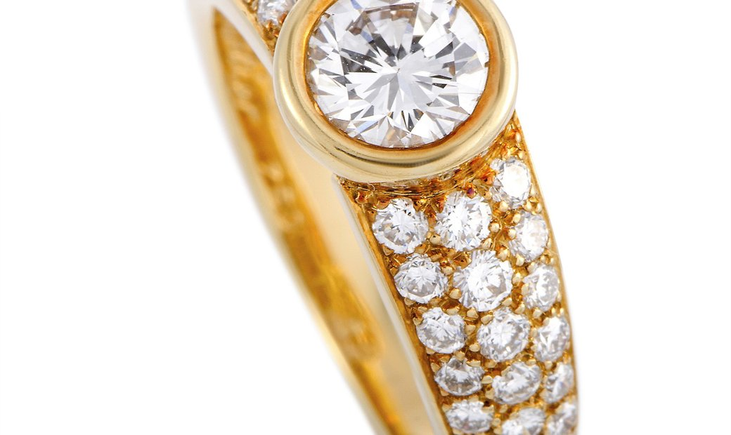 Cartier Cartier 18K Yellow Gold Diamond Pave Engagement Ring