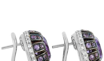 Oro Trend Oro Trend 18K White Gold 0.45 ct Diamond, Amethyst and Purple Sapphire Earrings