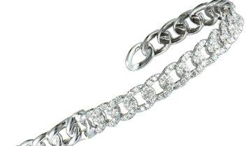 LB Exclusive LB Exclusive 18K White Gold Diamond Chain Link Open Bangle Bracelet