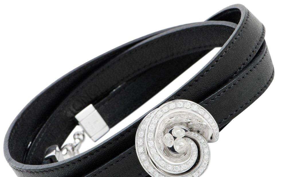de Grisogono de Grisogono Chiocciolina 18K White Gold and Diamond Black Leather Cord Wrap Bracelet