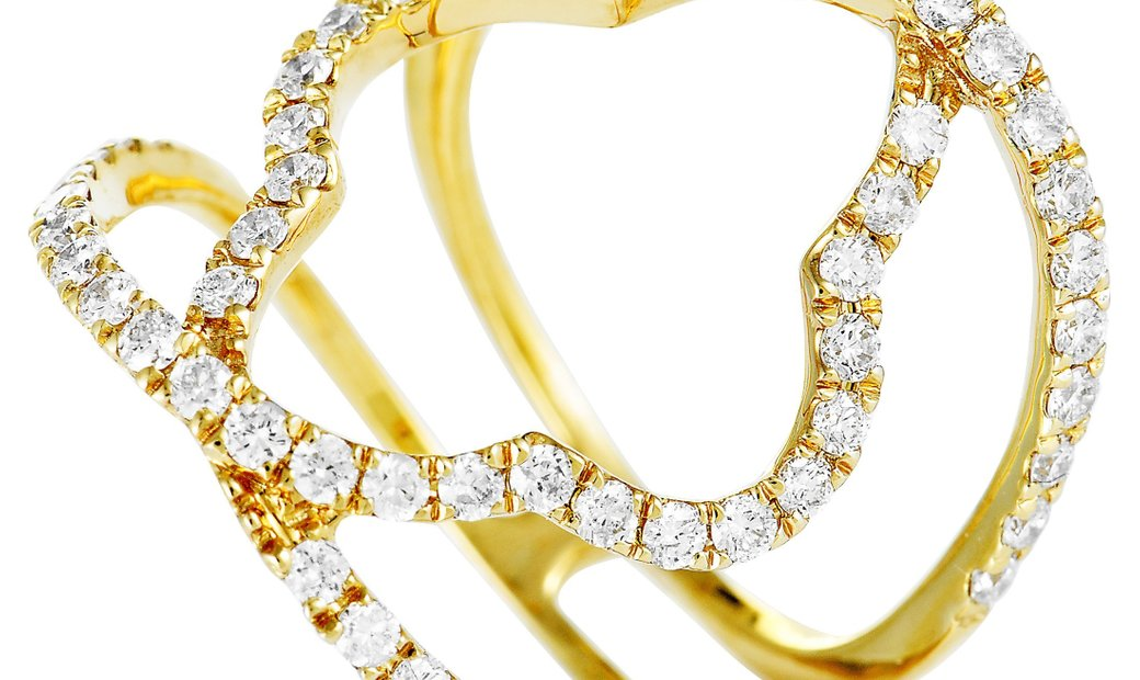 LB Exclusive LB Exclusive 18K Yellow Gold Diamond Pave Quatrefoil Openwork Band Ring