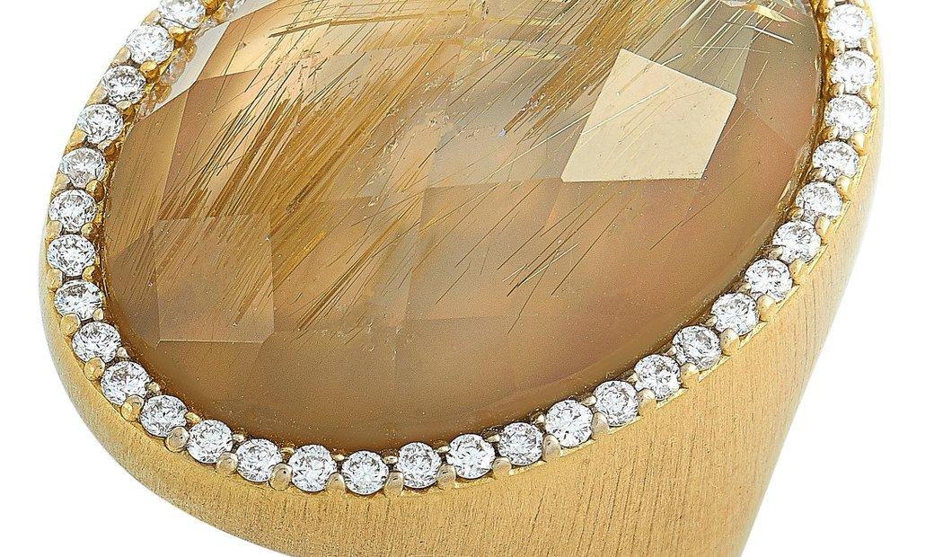 Roberto Coin Roberto Coin 18K Yellow Gold Diamond and Rutilated Quartz Ring