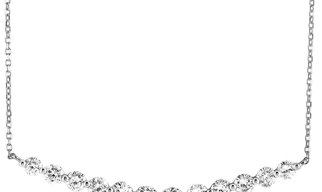 LB Exclusive LB Exclusive 18K White Gold 1.30 ct Diamond Rivière Curve Pendant Petite Necklace